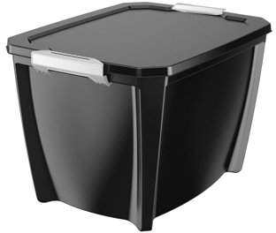 story. LIFE Life Black Stackable Locking Organization Storage Box Container, 32 Gal