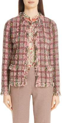 Etro Fringe Boucle Plaid Jacket