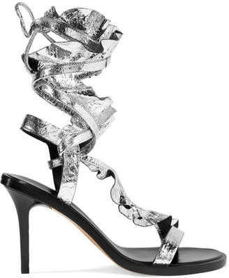 Ansel Ruffled Metallic Cracked-leather Sandals - Silver