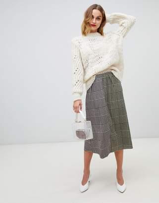 e0c4bd023c Vero Moda check split side midi skirt
