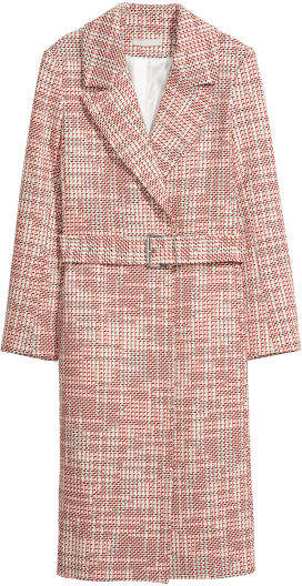 H&M - Textured-weave Coat - Red