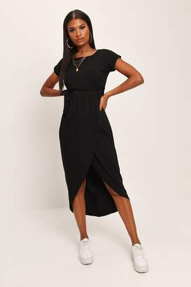 aeb0d732e6c9 I SAW IT FIRST Black Tie Waist T-Shirt Midi Dress