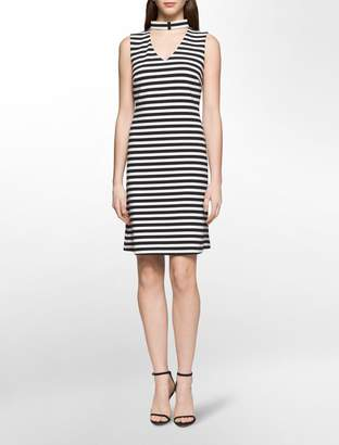 Calvin Klein striped cut-out dress