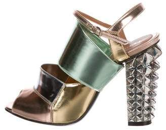 Fendi Metallic Leather Sandals