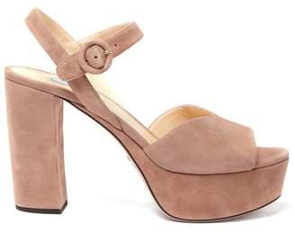 Prada V Cut Suede Platform Sandals - Womens - Dark Beige