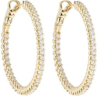 Neiman Marcus Diamonds 14k Inside & Outside Diamond Hoop Earrings