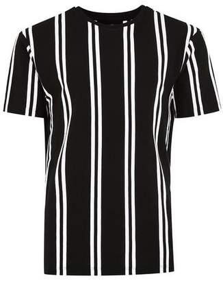 Topman Mens Black Slim Vertical Stripe T-Shirt