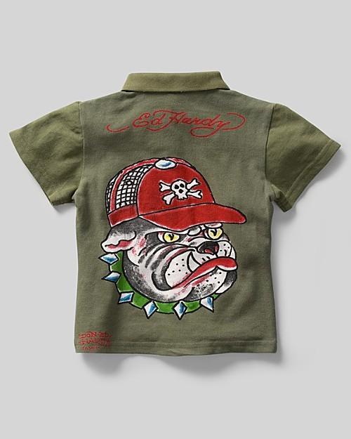 Ed Hardy Boys' Bulldog Short Sleeve Polo Shirt