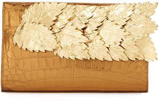 Nancy Gonzalez Leaves Crocodile Pyramid Clutch Bag