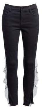J Brand 835 Mid-Rise Organza Frayed Hem Ankle Skinny Jeans