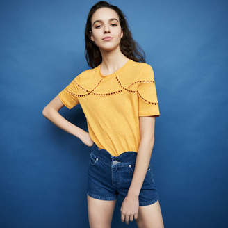 Maje Embroidered linen t-shirt