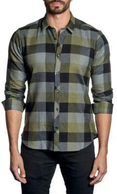 Jared Lang Plaid-Print Long-Sleeve Button-Down Shirt