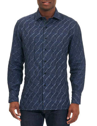 Robert Graham Linen Wave-Print Sport Shirt, Navy