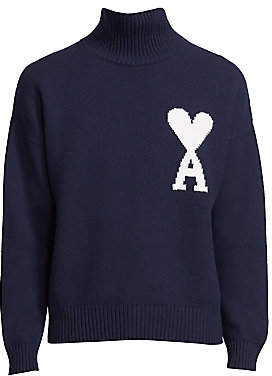 Ami Paris Men's Logo Intarsia Wool Sweater