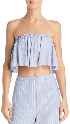 Sage the Label Wild One Striped Strapless Cropped Top