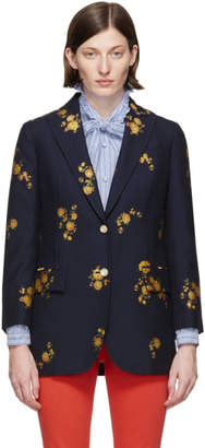 Gucci Navy Floral Fil Coupe Blazer