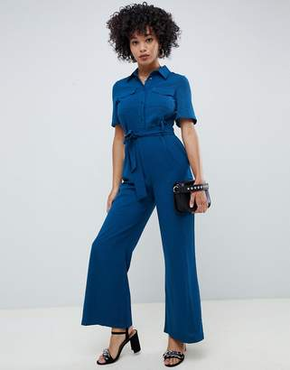 Asos DESIGN jumpsuit with soft flare leg and self belt