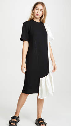 Clu Mix Media Dress With Ruffles