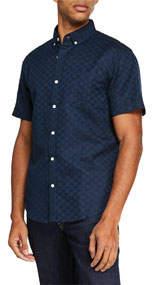 Men's Short-SleeveTextured Check Button-Down Shirt
