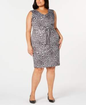Kasper Plus Size Leopard-Print Tie-Front Sheath Dress