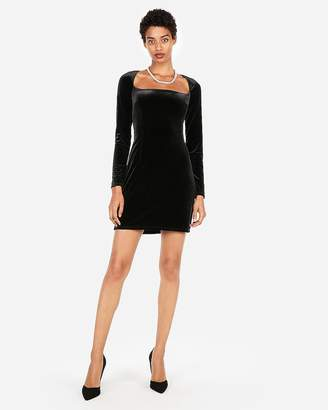 Express Edition Velvet Open Neck Sheath Dress