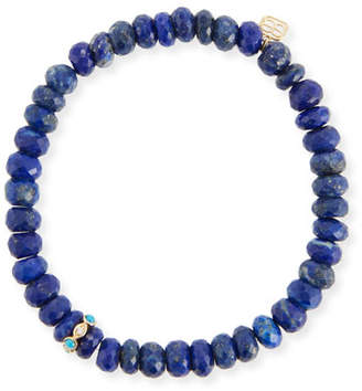 Sydney Evan 8mm Lapis Beaded Bracelet with Turquoise & Diamond Bezel Station