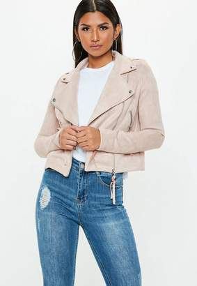 Missguided Tall Exclusive Nude Faux Suede Biker Jacket