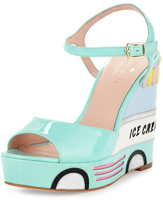 Kate Spade New York Dotty Ice Cream Wedge Sandal, Mint Liqueur $278 thestylecure.com