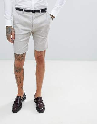 Twisted Tailor wedding shorts in stone linen