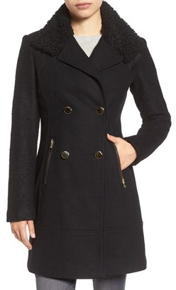 GUESS Bouclé Sleeve Wool Blend Military Coat $178 thestylecure.com