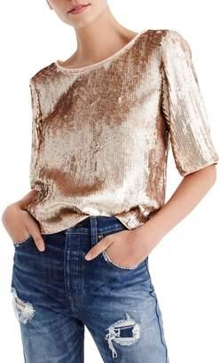 J.Crew Rose Gold Sequin Crop Top