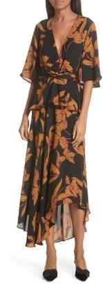 A.L.C. Avi Print Silk Midi Dress