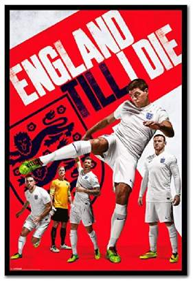 England Till I Die 2014 World Cup Poster Magnetic Notice Board Black Framed - 96.5 x 66 cms (Approx 38 x 26 inches)