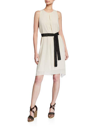 Brunello Cucinelli Sleeveless Inverted Pleat Belted Dress