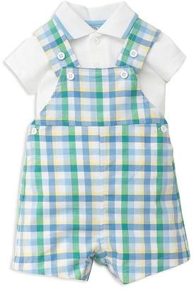 Little Me Boys' Polo Shirt & Gingham Shortall Set - Baby