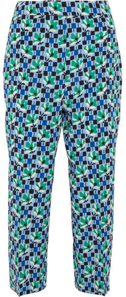 Prada - Cropped Printed Silk Crepe De Chine Straight-leg Pants - Blue