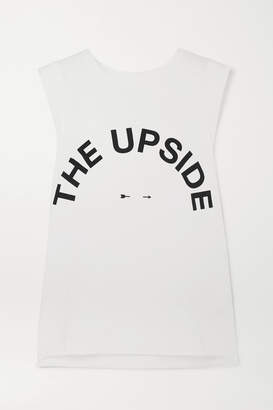 The Upside Muscle Printed Stretch-cotton Jersey Tank - White