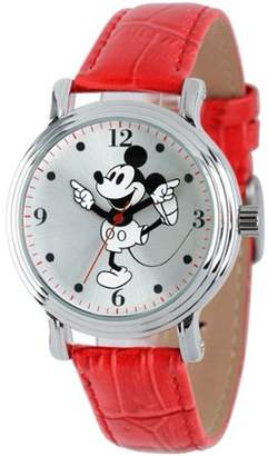 Disney Mickey Mouse Women's Shinny Silver Vintage Articulating Alloy Case Watch, Red Leather Strap