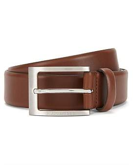 HUGO BOSS Leather Belt With Brushed-Silver Pin Buckle