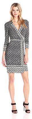 Donna Morgan Women's 3/4 Sleeve Faux Wrap Printed Jersey $118 thestylecure.com
