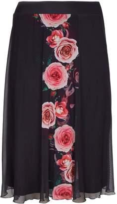 Evans **Scarlett & Jo Black Rose Print A-Line Skirt