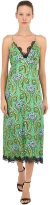 Printed Silk & Lace Slip Dress