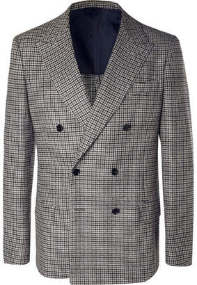 Piombo MP Massimo Grey Neruda Slim-Fit Double-Breasted Houndstooth Virgin Wool Suit Jacket
