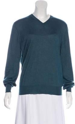 Brunello Cucinelli Cashmere and Silk V-Neck Sweater