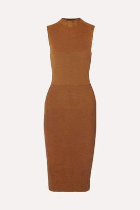 Victoria Beckham Cotton-blend Waffle-knit Midi Dress - Brown