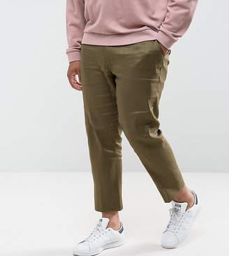 Asos DESIGN PLUS Skinny Cropped Smart Pants In Khaki Linen Mix