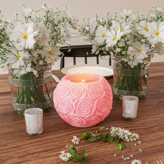 LED Candle with Remote Control-Rose Ball Design Scented Wax, Realistic Flickering or Steady Flameless Sphere Light-Ambient Home Decorby Lavish Home