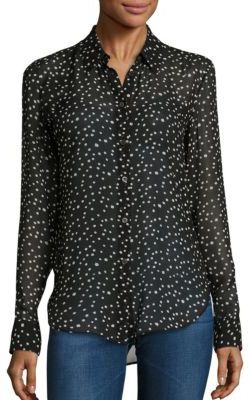 Theory Sunaya NC Silk Star-Print Blouse $275 thestylecure.com