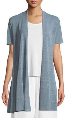 Eileen Fisher Organic Linen-Crepe Shimmer Long Cardigan, Plus Size