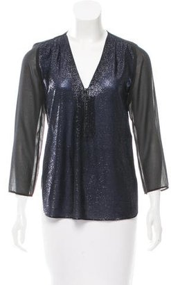 Sandro Lurex-Accented Chiffon Top $70 thestylecure.com